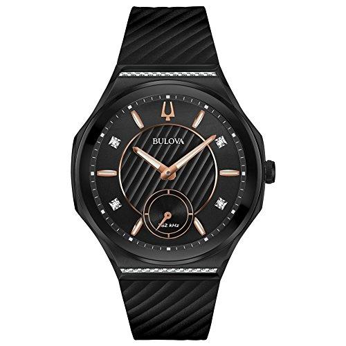 Bulova Curv Reloj de mujer diamante cuarzo 40.5mm correa de goma 98R240