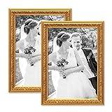 PHOTOLINI 2er Set Bilderrahmen Antik Gold Nostalgie 21x30 cm DIN A4 Fotorahmen mit Glasscheibe/Kunststoff-Rahmen