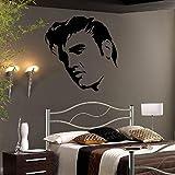 Bespoke Graphics Adhesivo Decorativo para Pared Grande de Elvis Presley con diseño de Gigante, Vinilo, Azul Oscuro, 300mm(H) x 300mm(W) X Small
