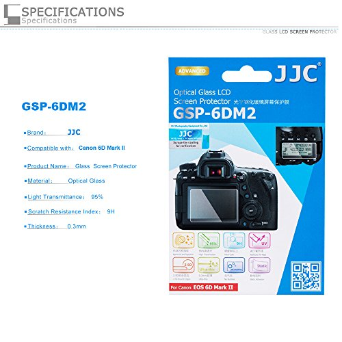 PROfoto.Trend/JJC Displayschutzglas (Displayschutz, Displayschutzabdeckung) für Canon EOS 6D Mark II (Mit 2 x PET-Unterschirmschutz) (Canon 6d Screen Protector)