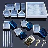 Woohome 10 Forma Molde Silicona Resina Patrón de Agua Molde de Joyería de Silicona para Collar Pendiente Fabricación de Colgante Creativo Bricolaje DIY