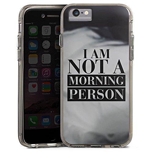 Apple iPhone 6 Plus Bumper Hülle Bumper Case Glitzer Hülle Morgenmuffel Phrases Sprüche Bumper Case transparent grau