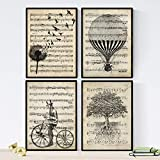 Nacnic Set of 4 Sheets for framing || Balloons, Tooth De Leon, Bike & Tree of Life Style Music || Posters with Images of Music Drawings Paper 250 Grams Decorate Living Room A4