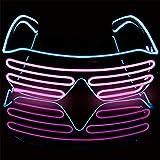 Mehrfarbiger Shutter EL Draht LED Brille Party – Neon Rave Brille blinkt lustige Brille für Weihnachten Halloween Wild Party Crazy Partys Ice Blue+pink