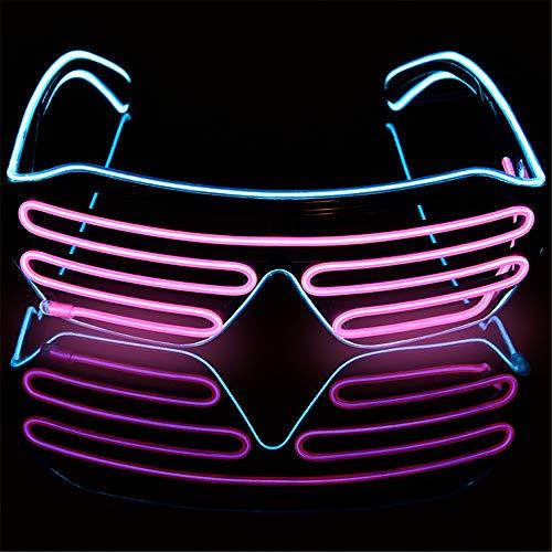 Mehrfarbiger Shutter EL Draht LED Brille Party - Neon Rave Brille blinkt lustige Brille für Weihnachten Halloween Wild Party Crazy Partys Ice Blue+pink