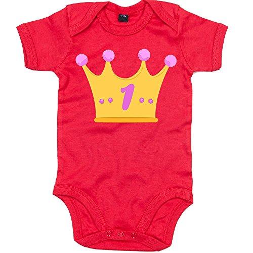 Shirt Happenz Kindergeburtstag 01 Premium Babybody | Mädchen | Geburtstag | Krone | Mädchen | Junge | Kurzarmbody, Farbe:Rot (Red BZ10);Größe:12-18 Monate (Happy Birthday-krone 13)