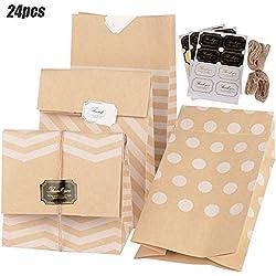 24pcs Sac en Papier Kraft + 24pcs Autocollants + 2 * 5m Fil Jute Fond Marron en 4 Motif Sachet Pochette Emballage de Cadeau Biscuits Bonbons pour Noël Anniversaire Mariage Fête