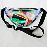 Waist Packs By LinTimes Women's Shiny Laser Holographic Waist Fanny Packs with Adjustable Waistband-Smartphone Money Coins Keys Passport Holder Translucent