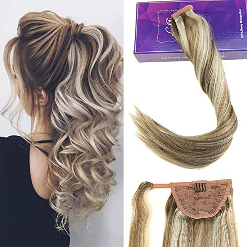 Laavoo 35cm highlight extension clip colorate marrone chiaro misto bionda platino #8p60 80g coda capelli extension corto easy fit clip in extension veri naturale
