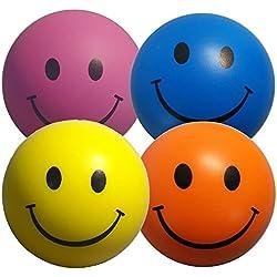 StressCHECK Pelota Anti Estrés - 4 x Bola Anti-Estrés de Colores Mezclados - Amarilla, Rosa, Azul y Naranja - Para ADHD y Autismo
