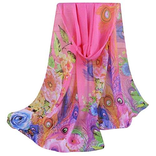 sothread Fashion Damen Floral Pfau Federn Prints Chiffon Schal Schultertuch Geschenk rose -