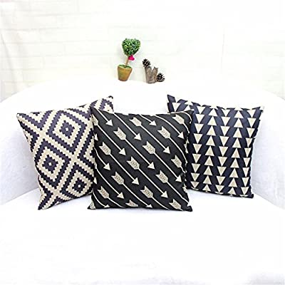 """Luxbon-Set of 3 Pcs Geometric Cushion Cover Durable Cotton Linen Geometric Argyle Triangle Arrows Waves Throw Pillow Case Home Decor 18""""X18"""" 45x45cm produced by Luxbon - quick delivery from UK."""