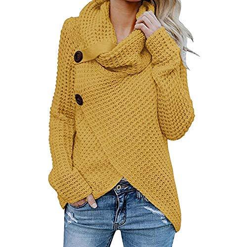 iHENGH Damen Herbst Winter Übergangs Warm Bequem Slim Mantel Lässig Stilvoll Frauen Langarm Solid Sweatshirt Pullover Tops Bluse Shirt (L, ()