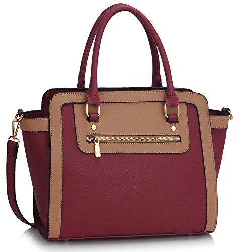 LeahWard Damen Zweifarbige Shaped schönes Elegante Handtaschen Tote Taschen Burgundy/nackt