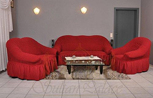 Stretch Sesselschoner, Sesselbezug, Sesselhusse aus Baumwolle & Polyester in weinrot / rot. Sofaueberwurf / Sofabezug / Sofahusse / Elastisch Husse