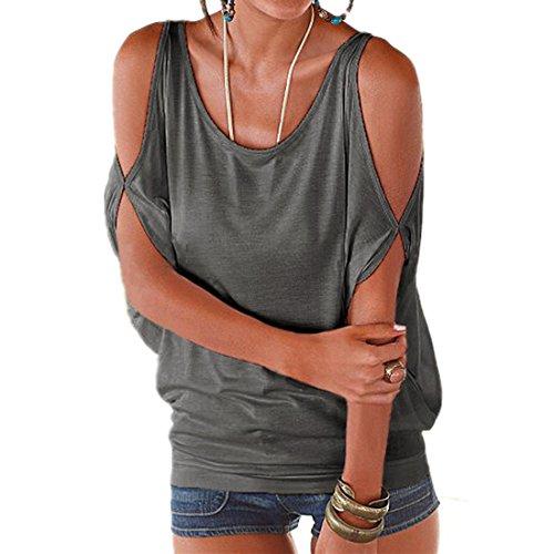 ASCHOEN Damen Casual T-shirt Oberteil Tops Hemd Bluse Bat Sleeve Grau