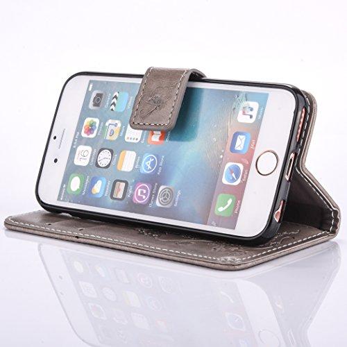 iPhone 6 6S (4,7 Zoll) Brieftasche Hülle - Cozy Hut Ultra Slim Leder Tasche Hülle Etui Schutzhülle Ständer Smart Cover Case für iPhone 6 6S (4,7 Zoll),[Schmetterlings-Blumen Muster] PU Leder Flip Book grau
