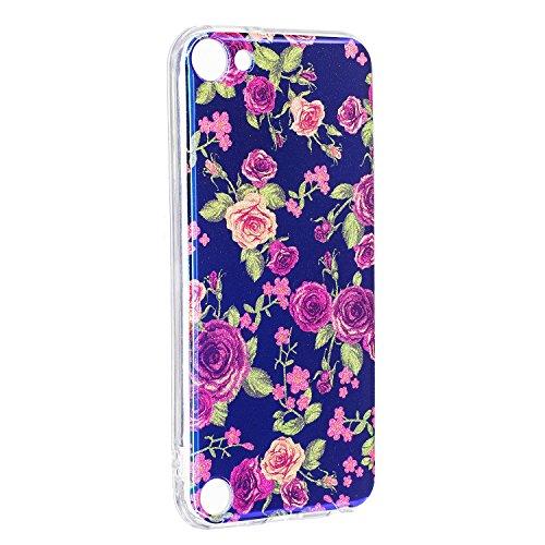iPod Touch 5 / Touch 6 Hülle, Chreey [Blaues Licht] Vintage Elegant Glittern Blumen Motiv Glatt Weich TPU Silikon Backcover Anti-Kratzer Handy Schutzhülle [Klein Rose] Ipod Touch 4g 8gb Gebraucht