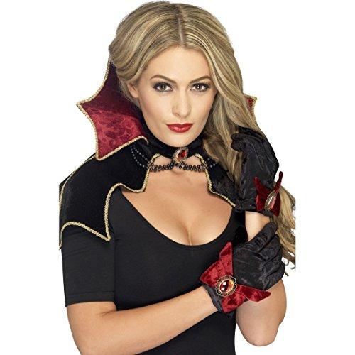 Hexe Accessoires Kostüm Handschuhe - NET TOYS Dracula Kostümset Vampir Kostüm Set Gothic Umhang Halsband Handschuhe Hexen Verkleidung Halloween Lady Vampirkostüm Halloweenkostüm Accessoires Karnevalskostüme Erwachsene