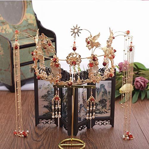 Vintage Haarschmuck Frauen Chinesische Klassische Braut Handgefertigte Tiara Haarnadel Schönen Und Edlen Perlen Quaste Phoenix Krone