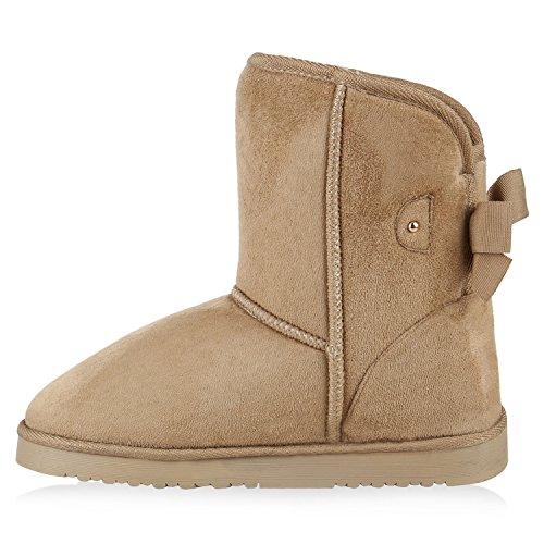 Damen Schuhe Schlupfstiefel Warm gefüttert Khaki Schleife