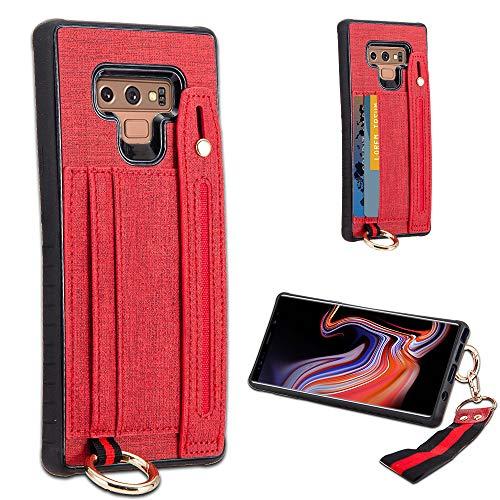 LUXCA Schutzhülle für Samsung Galaxy Note 9, Leder, mit Reißverschluss, Handtasche, Handtasche, Handschlaufe, aufsteckbar, rot - Unlocked Att Handys
