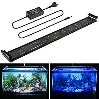 Aquarium LED Beleuchtung, Aquariumbeleuchtung Lampe Weiß Blau Licht 18W mit Verstellbarer Halterung für 95cm-115cm Aquarium