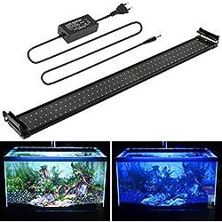 BELLALICHT Aquarium Lampe Rampe LED 144LED SMD Bleu et Blanc 25W 90-110CM 2 Modes Permutable Extensibles Fish Tank éclairage pour Poissons