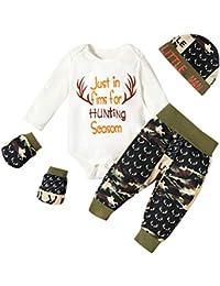 Pijamas de Navidad Santa clausBebé recién Nacido Bebé Navidad Mameluco Ciervo Pantalones Estampados + Sombrero + Guantes Trajes de Invierno