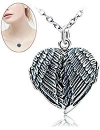 Haolv Plata Esterlina Corazón Locket Marco De Fotos Colgantes Collares De Plata Antigua del ala del