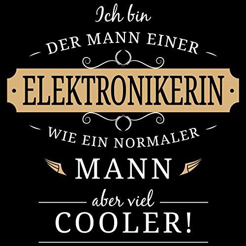 Fashionalarm Herren T-Shirt - Mann einer Elektronikerin | Fun Shirt mit Spruch Geschenk Idee verheiratete Paare Ehemann Elektroinstallateurin Schwarz