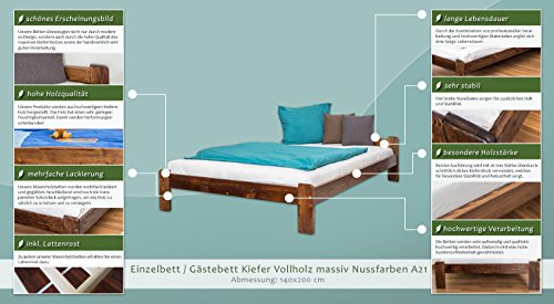 Futonbett / Massivholzbett Kiefer Massivholz Farbe nuss A8, inkl. Lattenrost – Abmessung 140 x 200 cm