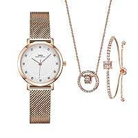 Women Watches Sets Gifts for Women Mom Wife Quartz Wrist Watch Necklace Bracelet Set (3623RG SL006 DZ0004)