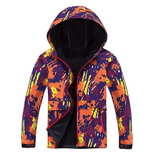 LINSINCH Damen Mantel Fleece innen Camouflage Soft Shell Hoodie Outdoor Outfit Assault Plus Size Top Kleidung Gr. XL, Orange