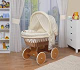 WALDIN Baby Stubenwagen-Set mit Ausstattung,XXL,Bollerwagen,komplett,44 Modelle wählbar,Gestell/Räder lackiert,Stoffe gelb/beige/kariert