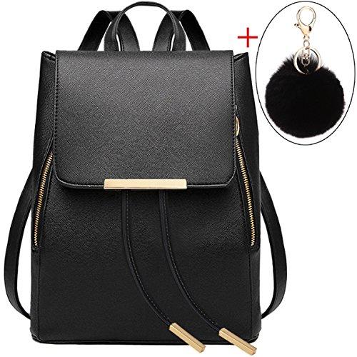 Coofit Damen Rucksack Umhängetasche Schulrucksäcke Leder Reise Daypacks Tasche Schulranzen Black Pendant