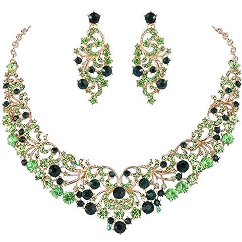 EVER FAITH® Cristal Autrichien Fleur Anniversaire Collier Boucle d'Oreilles Parures Plaqué Or Vert N06388-2