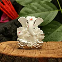 CraftVatika - Estatua de Ganesha Chapado en Plata para salpicadero de Coche, Color Blanco,