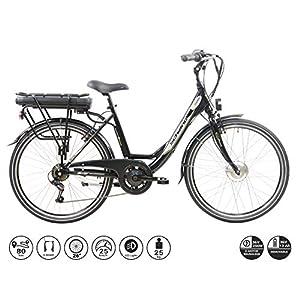 51LlySo18SL. SS300 F.lli Schiano E- Moon, Bicicletta elettrica Unisex Adulto, Nera, 26''