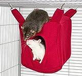 Rodents Residence Würfel Kuschelhängematte (Rot) Kleintier Höhle Haus Häuschen Ratte Chinchilla Frettchen Hamster Degu Frettchen
