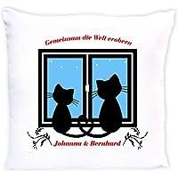 bedruckte Dekokissen mit Füllung - Motiv Katzen mit Wunschnamen