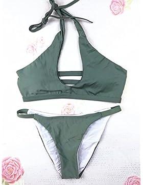 Conjuntos de Bikini Sexy traje de baño Trajes de Baño dividida de adelgazamiento, Verde,XL