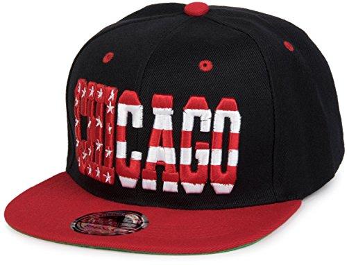 Imagen de stylebreaker  snapback «chicago» en diseño de barras y estrellas,  de béisbol, unisex 04023031, color negro rojo