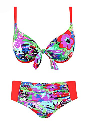 Traje de baño para mujer 2piezas Bikini Retro braga Montante rojo XX-Large