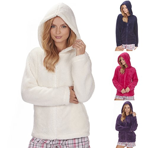 - 51Llzvo2cJL - Ladies Women's Fleece Snuggle Top (Sizes S-XL) Zip Up Hooded Lounge Bed Jacket Ideal For All Seasons