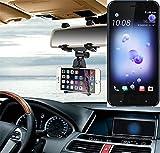 K-S-Trade Für HTC U11 Dual-SIM Smartphone Halterung Rückspiegel Halterung schwarz Auto Halterung für HTC U11 Dual-SIM Spiegel KFZ Halter