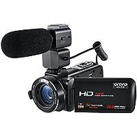 Ordro Caméscope Professionnel Wifi Full HD 1080P 30FPS Caméra Vidéo Numérique avec Microphone Externe 3.0 Pouces LCD Écran Tactile Télécommande
