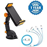 Captcha Universal Car Mobile Phone and Tablet Mount Holder Stand, Long Arm Sticky Suction Cup with USB 4 in 1 Multi Charging Cable Compatible with Xiaomi, Lenovo, Apple, Samsung, Sony, Oppo, Gionee, Vivo Smartphones (One Year Warranty)