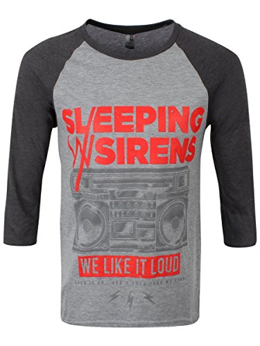 4 Sleeve 3 T-shirt-männer (SLEEPING WITH SIRENS WE LIKE IT LOUD  3/4 Sleeve Baseball Tee X-Large)
