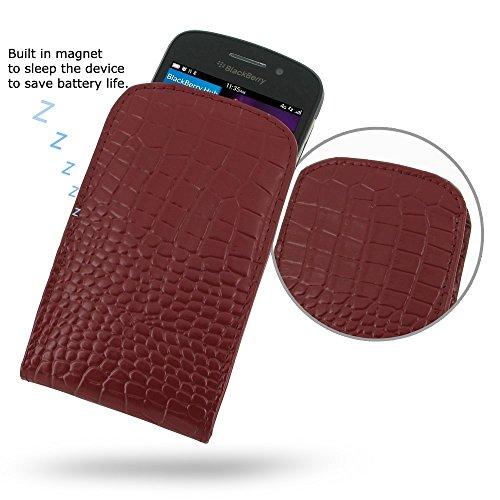 PDAir BlackBerry Q10 Handyhülle Tasche (Rotes Krokodilmuster), Echtleder Handyhülle Tasche Schutz Cover Telefonkasten, Handarbeit Prämie Vertical Tasche Für BlackBerry Q10 (NO Gürtelclip) (Blackberry Otterbox Q10)